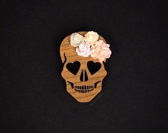 Blooming Love Skull Brooch - Laser Cut Wood Pin - Walnut Wood Heart Eyed Skull with Flowers  (C.A.B. Fayre Original Design)