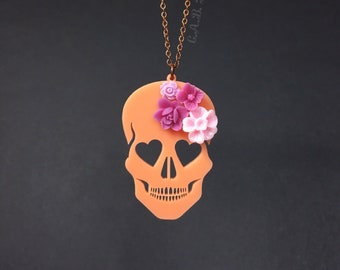"""Blooming Love Skull Necklace - Small 2""""- Bright Peach Skull with Pink Flowers - Laser Cut Acrylic (C.A.B. Fayre Original Design)"""