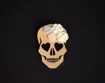 Blooming Love Skull Brooch - Laser Cut Wood Pin - Maple Wood Heart Eyed Skull with Flowers  (C.A.B. Fayre Original Design)