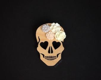 Blooming Love Skull Brooch - Laser Cut Wood Pin - Maple Wood Heart Eyed Skull with Flowers  (C.A.B. Fayre Original Design)
