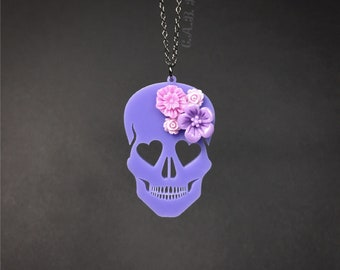 "Blooming Love Skull Necklace - Small 2""- Lavender Skull with Purple Flowers - Laser Cut Acrylic (C.A.B. Fayre Original Design)"