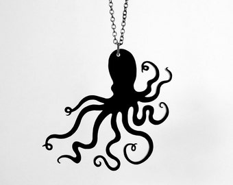 "An Octopus Love Affair Necklace - Small 2.5"" - Laser Cut Acrylic (C.A.B. Fayre Original Design)"