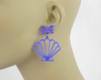 Mermaid Shell Earrings - Laser Cut Scallop Shell Earrings (C.A.B. Fayre Original Design)