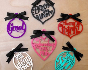Mean Girls Ornament Set - Set of 6 - Mean Girls Movie Quote -  Laser Cut Acrylic Ornaments
