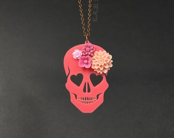 "Blooming Love Skull Necklace - Small 2""- Coral Skull with Flowers - Laser Cut Acrylic (C.A.B. Fayre Original Design)"