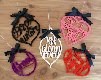 Mean Girls Ornament Set - Set of 5 - Mean Girls Movie Quote -  Laser Cut Acrylic Ornaments
