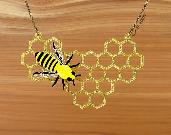 Featured listing image: The Bee's Knees - Honeycomb Necklace - Laser Cut Necklace (C.A.B. Fayre Original Design)