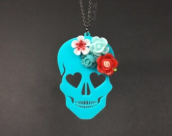 "Blooming Love Skull Necklace - LARGE 3""- Turquoise Skull with Red Flowers - Laser Cut Acrylic (C.A.B. Fayre Original Design)"