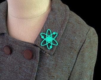 Atomic Atom Brooch / Pin - Laser Cut Acrylic Atomic Symbol Pin