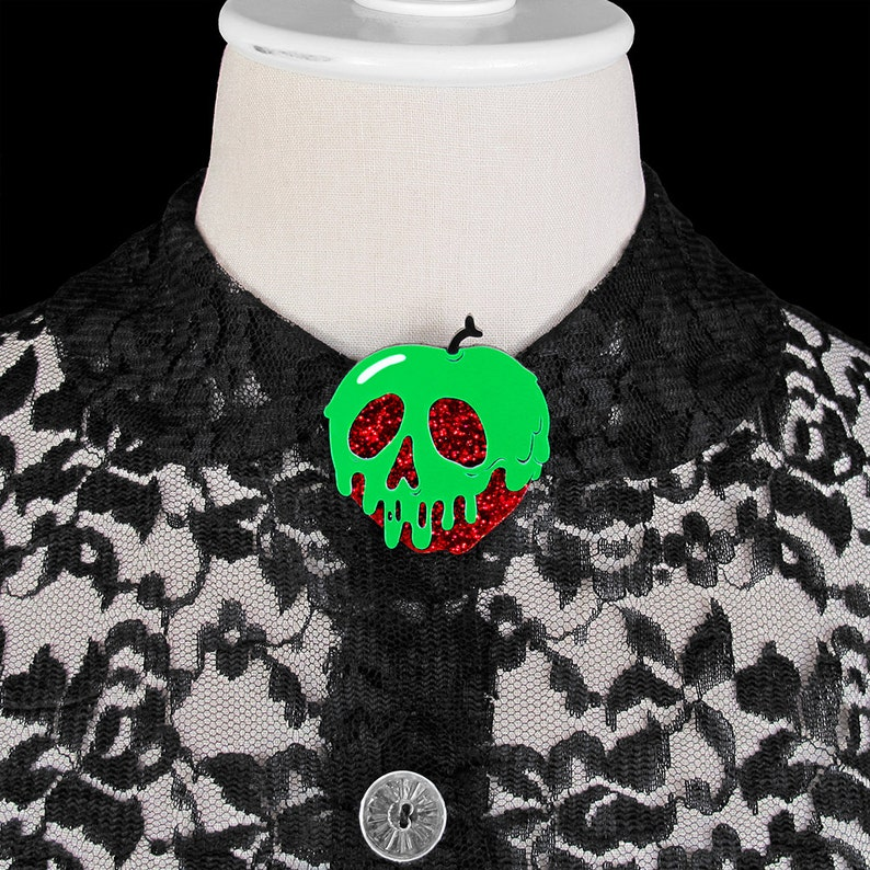 Poison Apple Brooch  Red Glitter Apple  You Select Poison image 0