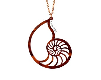 Nautilus Shell Necklace - Laser Cut Acrylic (C.A.B. Fayre Original Design)