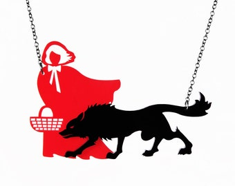 Little Red Riding Hood Necklace - Laser Cut Necklace (C.A.B. Fayre Original Design)