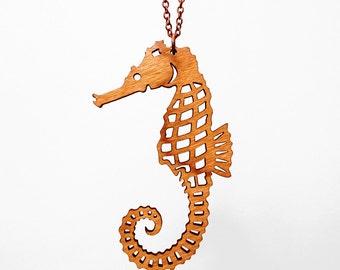 Seahorse Necklace - Laser Cut Wood (C.A.B. Fayre Original Design)