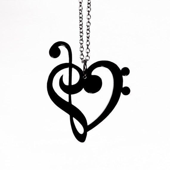 treble bass clef heart necklace laser cut acrylic music etsy rh etsy com calf heart recipe cleft heart valve