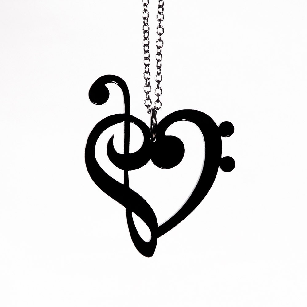treble bass clef heart necklace laser cut acrylic music etsy rh etsy com treble and bass clef heart cake topper treble and bass clef heart ring
