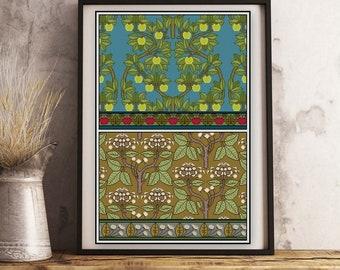 1 botanical apple blossom Art Nouveau decorative arts Apple Tree cross stitch pattern PDF No