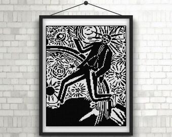 Frans Masereel Man and Woman illustration Cross stitch pattern PDF black and white woodcut illustration 1919