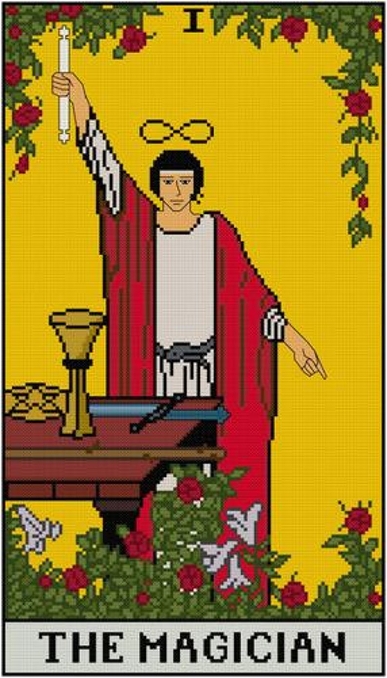 The Magician tarot card cross stitch pattern PDF Major Arcana
