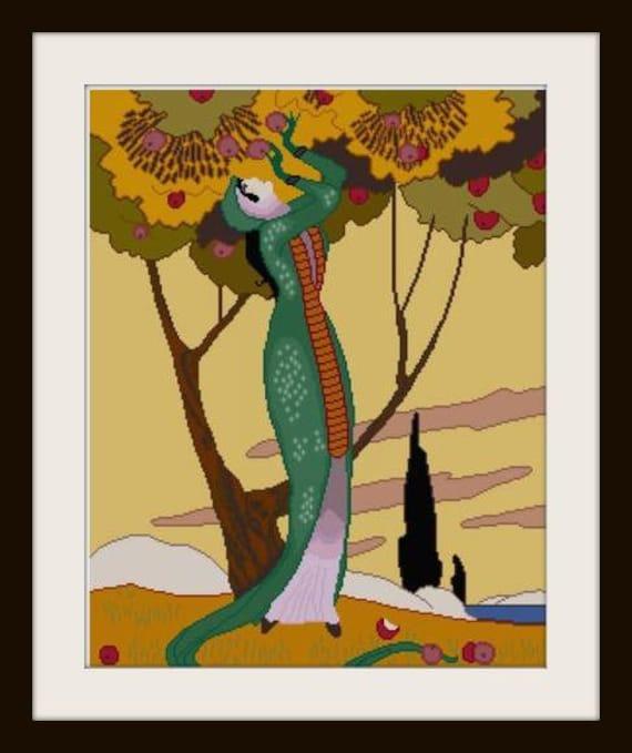 Apple Tree Fashion Illustration Cross Stitch Pattern Pdf Etsy