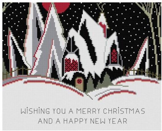 Art Deco Christmas Card Greeting Cross Stitch Pattern Pdf Etsy