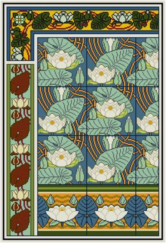 Water Lily Floral Panel Cross Stitch Pattern Pdf Maurice Verneuil Decorative Arts Historical Design