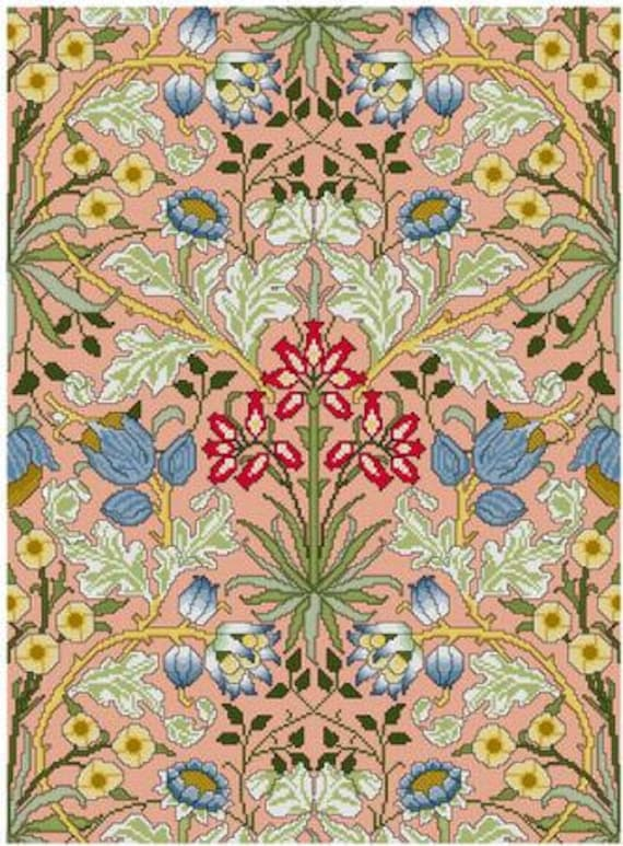 William Morris Hyacinth Wallpaper Design Cross Stitch Pattern Pdf