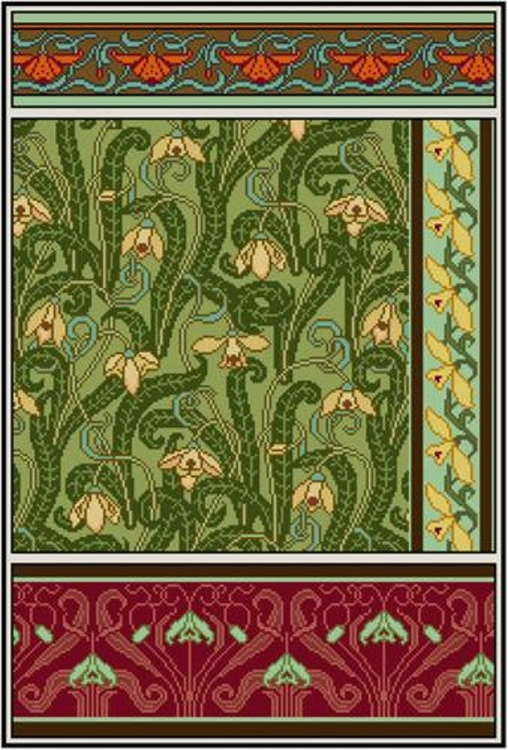 3 Art Nouveau flower cross stitch Crown Imperial cross stitch pattern PDF Mary Golay No