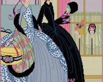 Window Shopping Illustration Helen Dryden cross stitch pattern PDF Magazine Cover Art