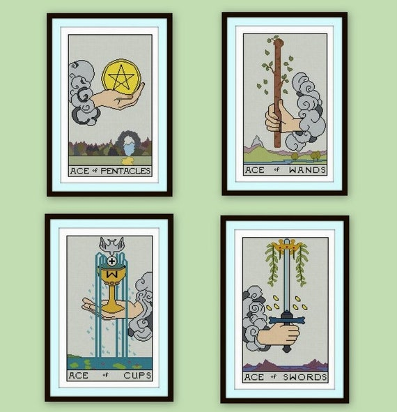 Set Of 4 Tarot Cross Stitch Pdfs Ace Of Pentacles Swords Wands Etsy Resources may be tight, and it seems that no matter what you do, you can't figure out how to pay all. set of 4 tarot cross stitch pdfs ace of pentacles swords wands cups rider waite 4 aces