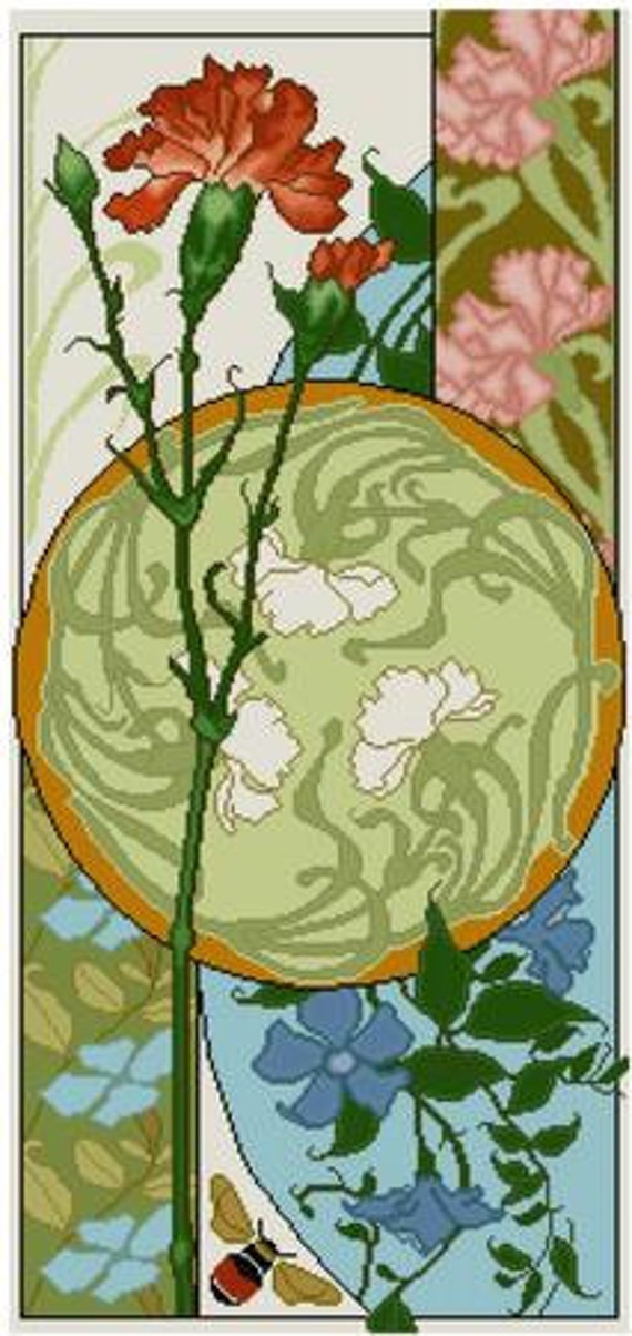 Art Nouveau Pink Greens Flower Basket Counted Cross Stitch Chart Pattern