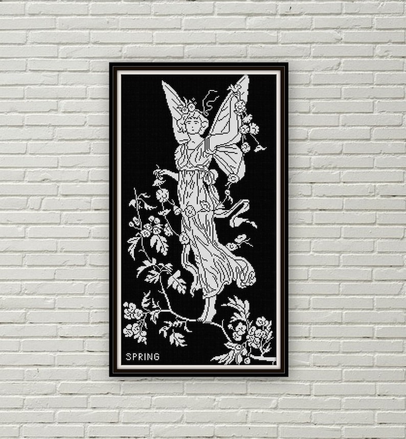 Spring Fairy cross stitch pattern PDF Constance Foxley 1890s Art Nouveau black and white Flower Fairy
