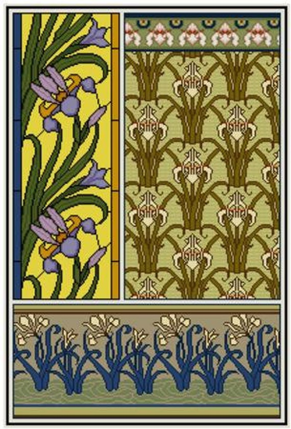 Art Nouveau Blue and Yellow Iris Flower Counted Cross Stitch Pattern
