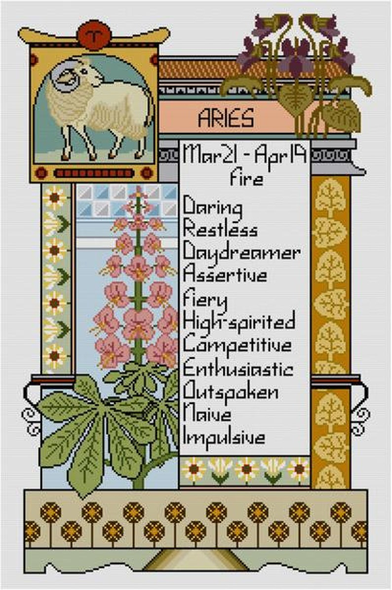 Aries Zodiac Cross stitch pattern PDF astrology sun sign