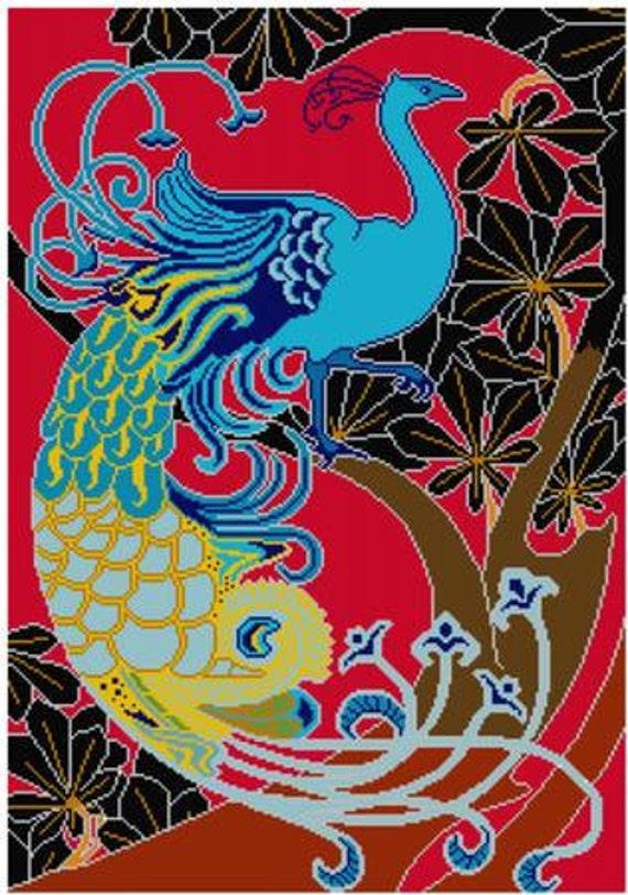 Peacock Cross Stitch Pattern PDF Art Nouveau Red Electric Blue