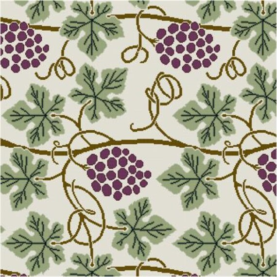 Simple Grapevine Panel Cross Stitch Pattern PDF Art Nouveau