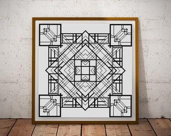 Black and White Geometric Cross stitch pattern PDF Square 2 color