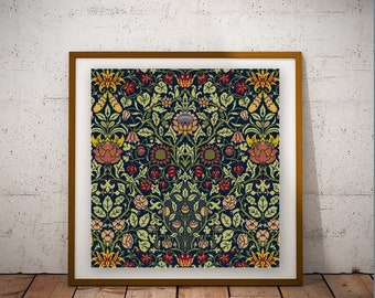William Morris Violet and Columbine cross stitch pattern PDF historical 1880s red and yellow