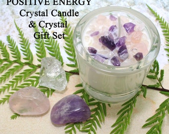 POSITIVE ENERGY Crystal Candle and Stones  / Candle and Crystal Gift Set / Healing Stones / Aromatherapy Candle / Healing Crystals