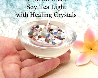 RAINBOW CRYSTALS Soy Tea Light  / Tealight Soy Candle / Aromatherapy Candle / Spa Candle / Vegan Candle / Gift Candle / Healing Crystals