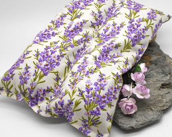 Lavender Heat Pack, Buckwheat, and Rice WHITE Pattern  - Muscles, Shoulder, Hot Pack, Cold Pack, Sports, Neck, Pain, Lavender Flowers