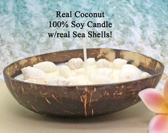 REAL Coconut Shell Soy Candle  / Scented Soy Candle / Aromatherapy Candle / Spa Candle / Vegan Candle / Coconut Shell Candle / Beach Decor