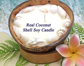 SOY CANDLE in Real Coconut Shell   Plumeria Candle   Tropical Candle   Tiki Candle   Sea Shell Candle   Hawaiian Candles   Plumeria