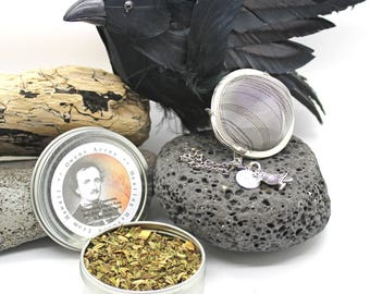 Edgar Allen Poe Tea Gift Set - Midnight Dreary - Gift Set, Licorice Tea, Herbal Tea, Tea Gift, Tea Infuser, Loose Leaf Tea, Edgar Allen Poe