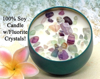 FLUORITE Crystal Soy Candle  / Scented Soy Candle / Aromatherapy Candle / Spa Candle / Vegan Candle / Gift Candle / Healing Crystals