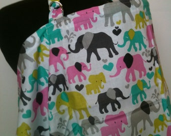 Nursing Cover, Breastfeeding Feeding Cover up, Nursing cover up,  Pink Elephants Breastfeading Cover, New baby