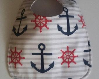 Baby Bib, Dribble Bib, Handmade Bib, Drool Bib,  Nautical Anchor Navy