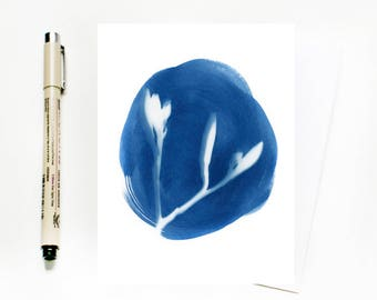 NEW Cyanotype Greeting Card, Blank Nature Themed Card,  Sun Print Garden Card