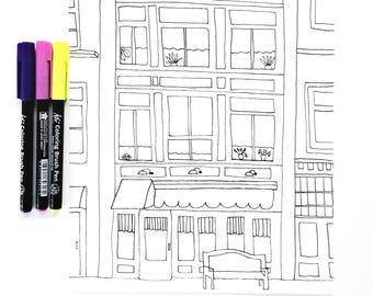 Coloring Sheet, City Scene Coloring Sheet for Kids and Adults, New York Buildings Coloring Sheet, DIY Coloring Book Page, DIGITAL DOWNLOAD