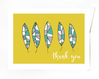 Thank You Greeting Card, Nature Inspired Thank You Card, Teal and Yellow Botanical Thank You Card by Emma Freeman Designs
