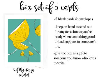 Gift Box Set of 5 Colorful Cards, Box Set of Blank Cards, Gift for Writer, Gift for Artist